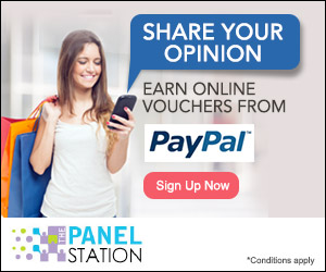 Earn Online Vouchers from PayPal when you share your opinion through online surveys at The Panel Station