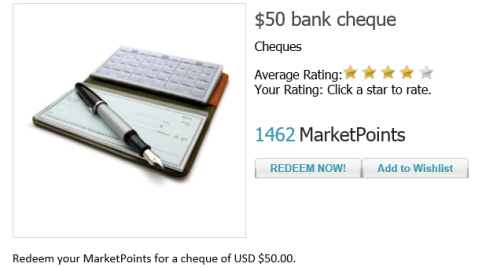 1462 Ponts now needed for a $US50 Check at Global Test Market