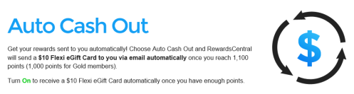 Get Auto Cash Out at Rewards Central