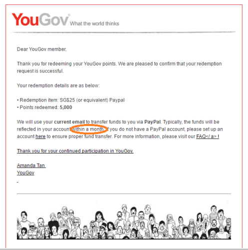 Once you have earned 5000 points at YouGov you can claim SG$25