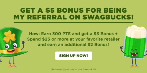 Earn 300 Points and get a $3 Bonus at Swagbucks!