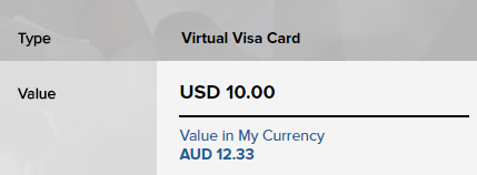 Virtual Visa card Value in My Currency