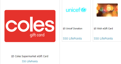Rewards from $5 at GlobalTestMarket including Coles, Unicef Donation and WISH Woolworths Group eGift Cards.